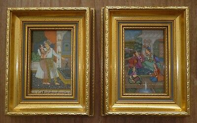 2 Antique Mughal Gouache North Indian Fable Story Manuscript Page With Frames