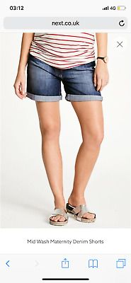 Next ladies blue denim summer Maternity shorts bnwt size 18