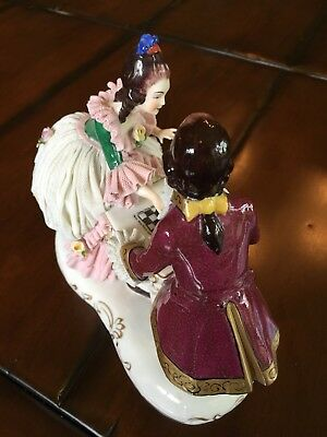 Antique German Dresden Lace COURTING COUPLE PLAYING CHESS Porcelain Figurine