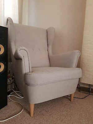 STRANDMON Wing CHAIR WITH FOOTSTOOL SKIFTEBO LIGHT BEIGE