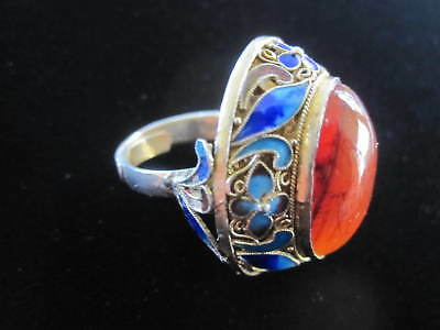 Vintage Silver Ring With Carnelian Cabochon & Enamel Filigree; Size 6 1/2; 9 Gms