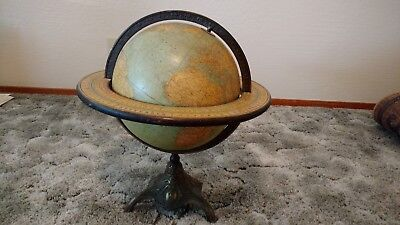 "Antique Vintage Globe Rand McNally Brass Bronze Twelve In. 12"" Terrestrial Globe"
