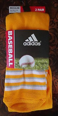 Adidas Baseball Climate Socks 2 Pack Collegiate Gold/White Size Medium - New
