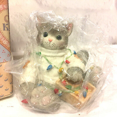 Vintage Calico Kittens Cats Enesco You Brighten My Holidays 1996