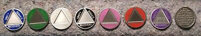 AA/Alcoholics Anonymous recovery coin/token medallion. Engraved name/sober date