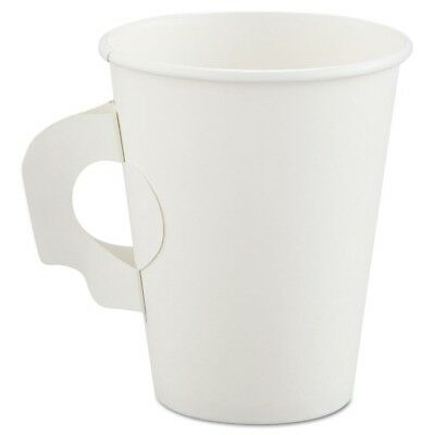 Polycoated Hot Paper Cups with Handles, 8 oz, White, 1,000/Carton - SCC 378HW