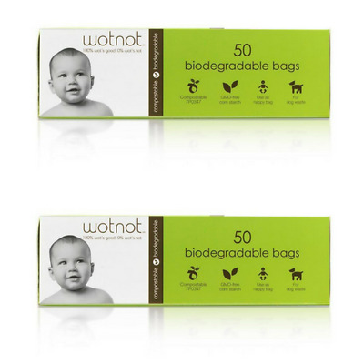 2 x Wotnot Biodegradable Nappy Bags 50 Packs (100 bags)
