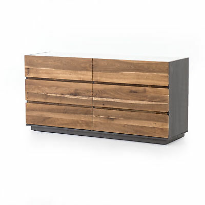 "65"" Secondo Large Dresser Oak Marble Engineered Hardwood Dark Smoked White Grey"