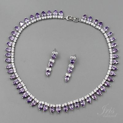 White Gold Plated Amethyst Purple Cubic Zirconia Necklace Earrings Jewelry Set 8