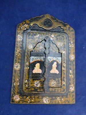 Vintage Wood Cased Hand Painted European Metal Travel Mirror