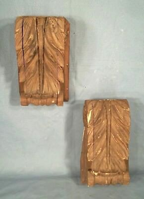 PAIR OF ANTIQUE 19th CENTURY FOLIAGE CARVED WOOD CORBELS