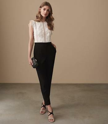 3f8ce3f4b85a NEW REISS WOMENS Suzy Lace Detail Jumpsuit Off White black -  480.00 ...