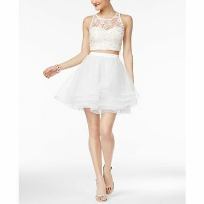 8b9665c804 SEQUIN HEARTS JUNIORS 2-Pc. Lace Crop Top Fit   Flare Dress Ivory ...