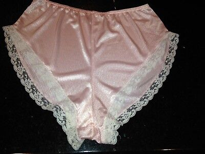 VTG~FREDERICKS of HOLLYWOOD NYLON Tap Panties~Pink Candy Stripe SIssy~SMALL S
