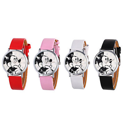 Fashion Cute Mickey Mouse Leather Wrist Watch Girl Women Kids Cartoon Watches