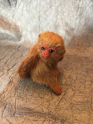Vintage Mini Real Hide Fur Monkey Taxidermy Scary Circus Glass Eyes