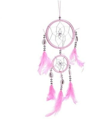 12' Traditional Pink Dream Catcher With Feathers Wall Or Car Hanging - NEW