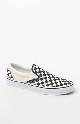 45d7ea0a82f6bf New Vans Mens Classic Checkerboard White   Black Slip-on Sneakers