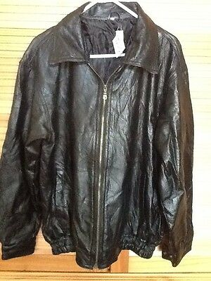 NWT-English Leather Mens Quilted Black Leather Jacket Sz L Front Zip Closure