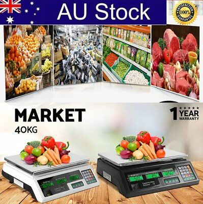 Kitchen Digital Electronic Scale 40KG Commercial Shop Weight Scales Food AUS H