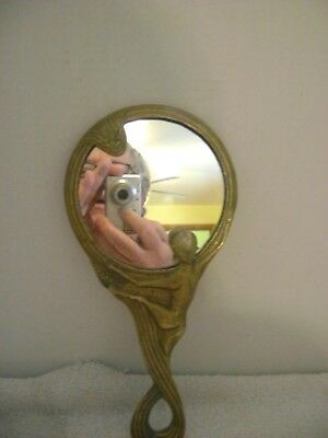 Vintage Art Deco Solid Brass Nude Lady Hand Mirror