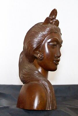Bali  Hand Carved Polished Wood Tribal Woman's Head Statue Klung Kong