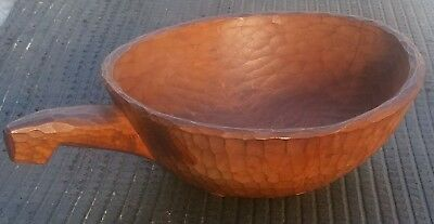 Vintage Hand Carved Wooden Scoop Bowl And Handle With Hammered look cuts