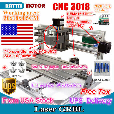 【US Stock】 3 Axis DIY Mini CNC 3018 GRBL Control Laser Machine Pcb Wood Router