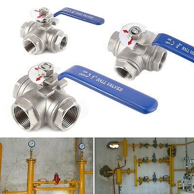 "3-way Ball Valve Stainless Steel Female Port L Type Lever Handle 1/2""-1"""