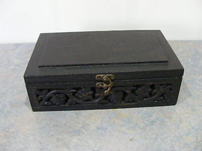 25cm Black Timber Box With Open Hand Carved Sides - Jewellery Storage Display