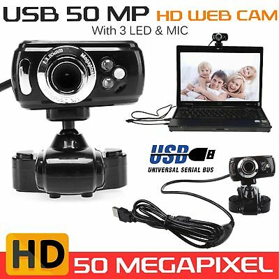 USB 50 Megapixel HD Webcam Web    era & Microphone Mic 3 LED PC Laptop