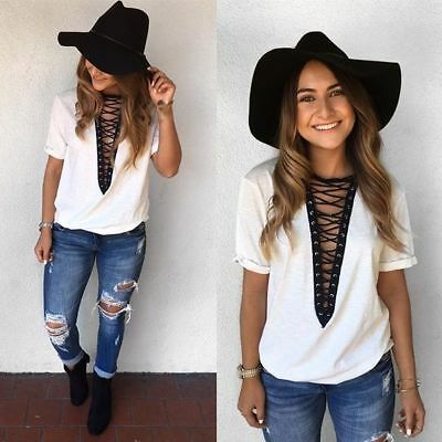 Women Summer Casual T Shirt Short Sleeve Loose Blouse Ladies Daily Top Plus Size