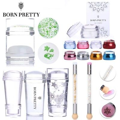 BORN PRETTY Clear Jelly Chess Stamper Scraper Dual-ended Stamp Blooming Pen Tool