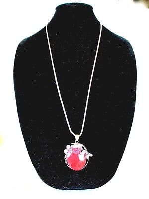 Long Vintage C.1970 Modernist Sterling - Rhodochrosite Pendant And Chain