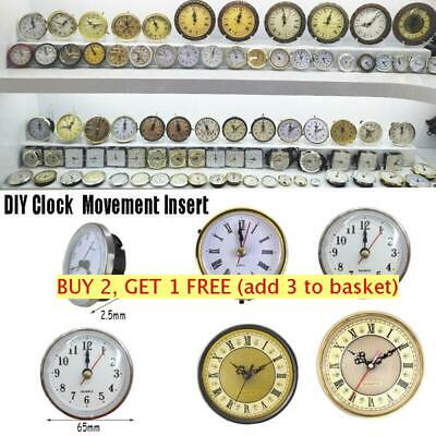 Roman Quartz Clock Movement Insert Numeral White Face Gold Trim 65mm/190mm