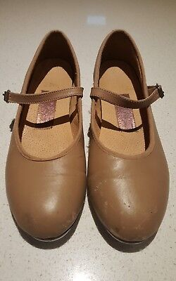 Paul Wright Girls tan buckle up tap / dance  shoes size 2. All leather