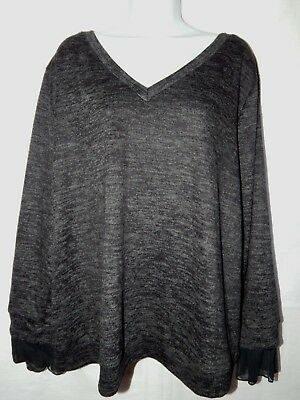 3b003edcd01 Sweater AVA   VIV 4X Black Heathered Pullover V Neck Top Womens Plus Solid  PS24
