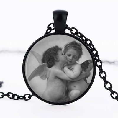 The First Kiss Drawing photo dome Black Cabochon Glass Necklace chain Pendant