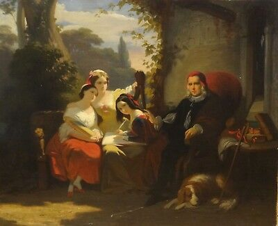 Fine 19th Century French Cardinal & Maidens Muses Ladies Antique Oil Painting