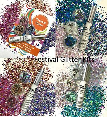 FESTIVAL GLITTER MAKE-UP KIT -  3 Loose Glitter mixes and the best Glitter Glue
