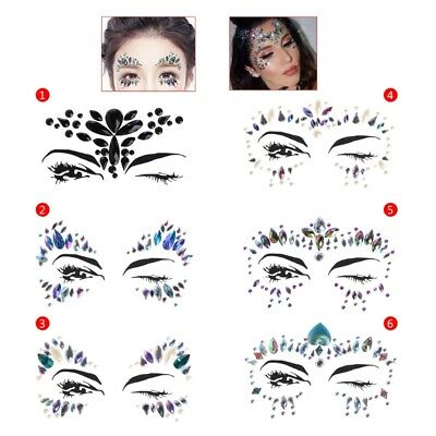 Face Eye Jewel Body Art Acrylic Sticker Tattoo Pearl Decor For Party Performance