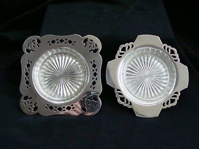 Two Vintage Butter Dishes Ashtrays, Epns, Art Deco, Glass Inserts, Vgc, Can Post