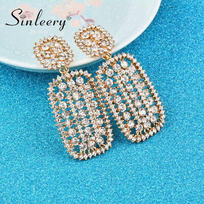 Hollow Cubic Zirconia Big Square Drop Earring 3 Colors Wedding Fashion Jewelry