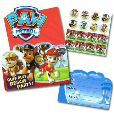 Paw Patrol Invitations X 8 Birthday Invites Party Supplies Chase Marshall Skye