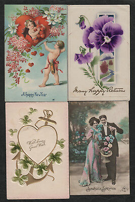 e1748)               4 x  EARLY 1900's  GREETINGS POSTCARDS