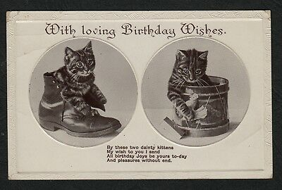 e1889)     EARLY GREETINGS POSTCARD  WITH LOVING BIRTHDAY WISHES 'PUSS IN BOOT'