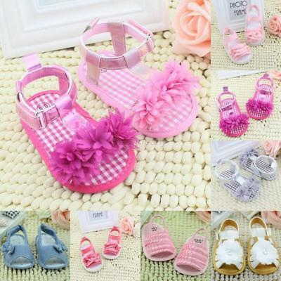 UK 0-18M Baby Infant Kids Girl Summer Sandals Soft Sole Crib Shoes Toddler Pram