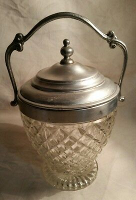 Antique Cut Glass Biscuit or Ice Barrel Lidded with Scroll Handle