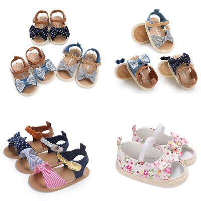 Baby Infant Kids Girl Soft Sole Crib Toddler Summer Princess Sandals Shoes 0-18M