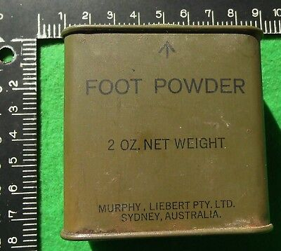 Vietnam era 1969 dated Australian Army foot powder tin & contents.